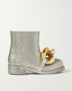 Chain-embellished Glittered Rubber Rain Boots