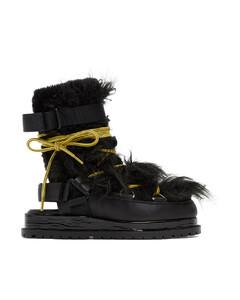 黑色露跟中筒靴