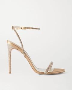 水晶缀饰缎布凉鞋