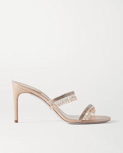 水晶缀饰缎布金属感皮革凉鞋