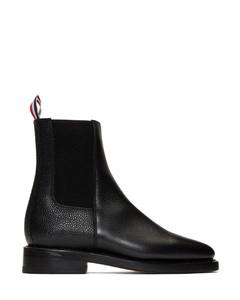 黑色荔枝纹粒面皮革切尔西靴