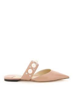 BASETTE FLAT MULES PEARLS AND STUDS