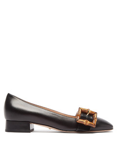 Bamboo-buckle leather flats