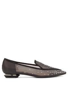 Beya crystal-embellished mesh loafers