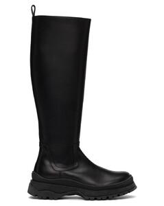 黑色Bow高筒靴