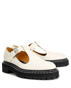 Off-white leather Mary Jane shoes