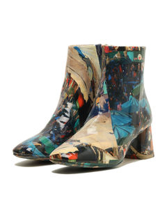 Photo print ankle boots