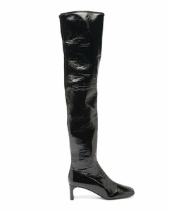 Square-toe patent-leather over-the-knee boots