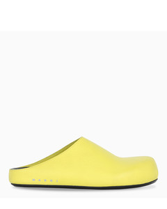 Yellow grained leather sabot