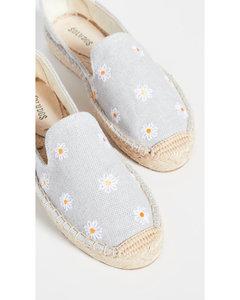 雏菊刺绣编织底帆布鞋
