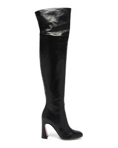 Curve-heel 100 leather knee-high boots