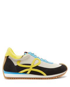 Flow leather-trim suede trainers