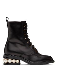 黑色Casati军风中筒靴