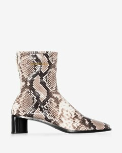 Beige Ophedia 45 Snake Print Leather Ankle Boots