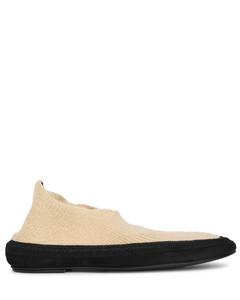 Fairy beige cashmere flat shoes