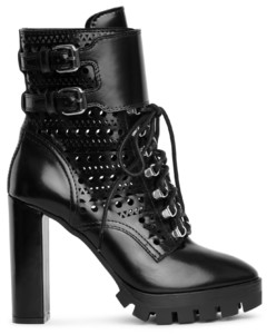 Perforated combat ankle boots