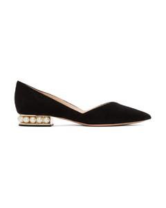 黑色Casati D'Orsay绒面革芭蕾鞋