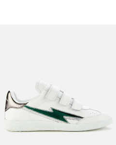 Women's Beth Leather Velcro Trainers - Petrol
