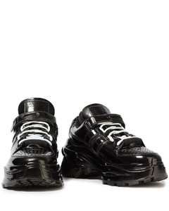 Leather and metallic-trimmed polished faux leather sneakers