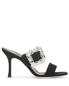 Gable Jewel 90 black crepe mule sandals