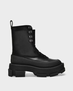Gao Platform High Boots in Black Leather