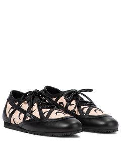 Mytheresa发售 —x Marine Serre印花皮革边饰运动鞋