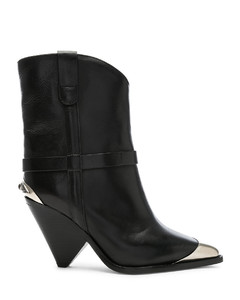 Leather Lamsy Boots in Black