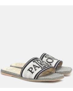 Paris Love刺绣帆布凉拖鞋