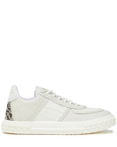 Woman Blabber Croc And Snake-effect Leather Sneakers