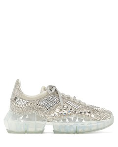 Diamond crystal-embellished suede trainers