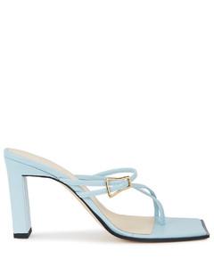 Yara light blue leather sandals