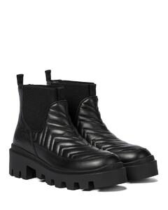 绗缝皮革防水台及踝靴