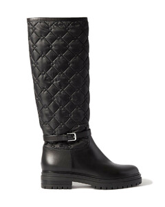 Woman Buckled Leather And Quilted Shell Knee Boots