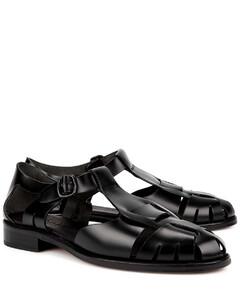 Pesca black leather sandals