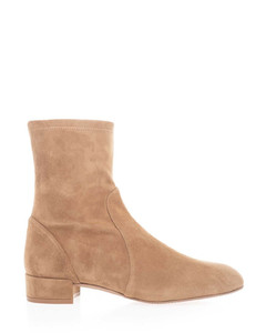 Suede ankle boots in camel color
