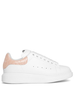 white and tea rose embossed classic sneakers