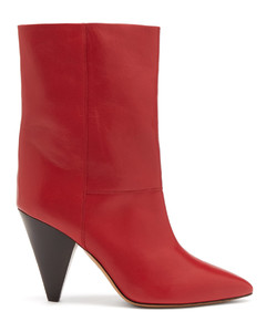 Locky cone-heel leather ankle boots