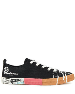 Woman Patchwork-effect Painted Logo-print Canvas Sneakers
