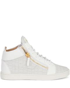 Kriss crocodile-effect leather sneakers