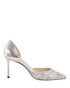 Platinum Esther 85 Coarse Glitter Leather Pointed Pumps, Brand Size 37
