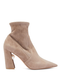 Miri faux pearl-embellished suede sock boots