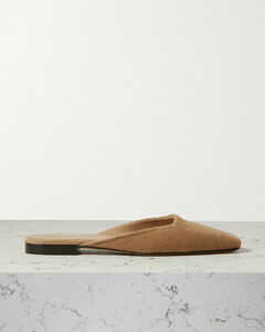 Embroidered Cashmere Mules