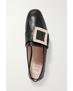 Embellished Textured-leather Loafers