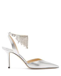 Birtie 85 crystal-fringe metallic-leather sandals