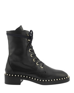 Allie bead embellished leather combat boots
