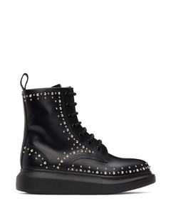 黑色铆钉皮革踝靴