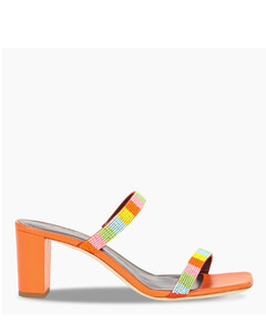 Orange Frankie sandals with multicolour beads