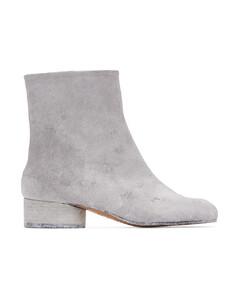 SSENSE发售白色Tabi涂绘低跟踝靴
