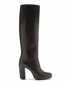 Panelled leather knee-high boots