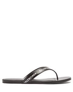 Logo-print leather sandals